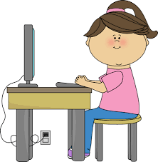 Girl at Computer Station