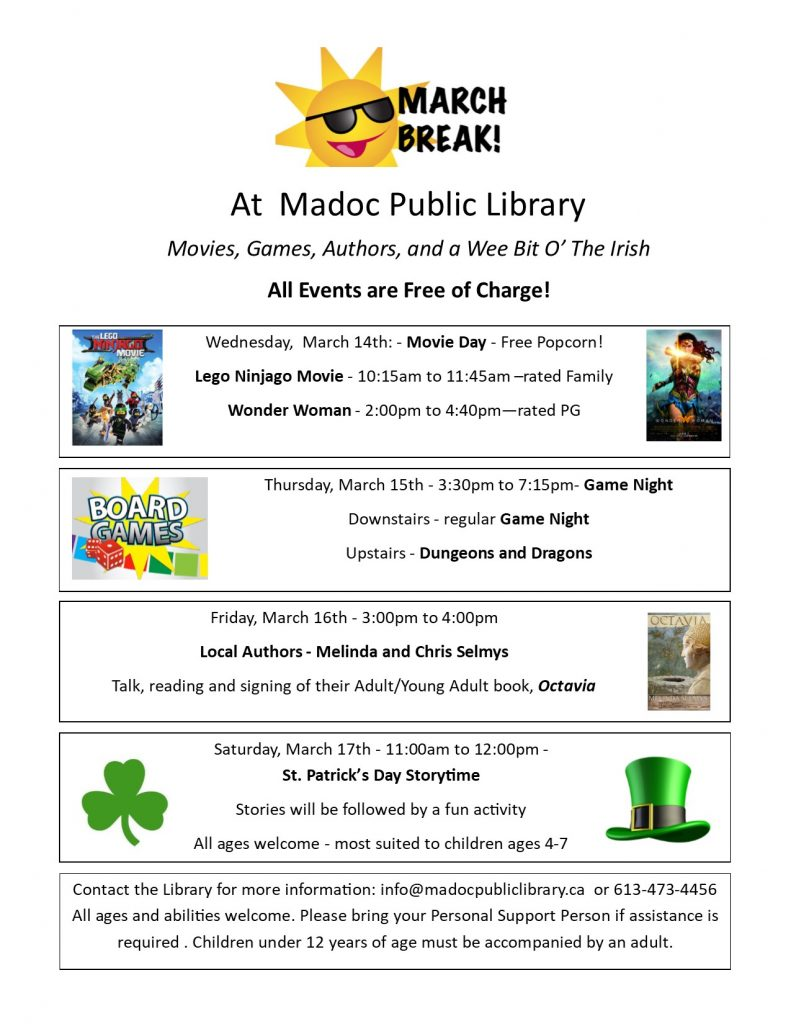 March Break 2018 event information