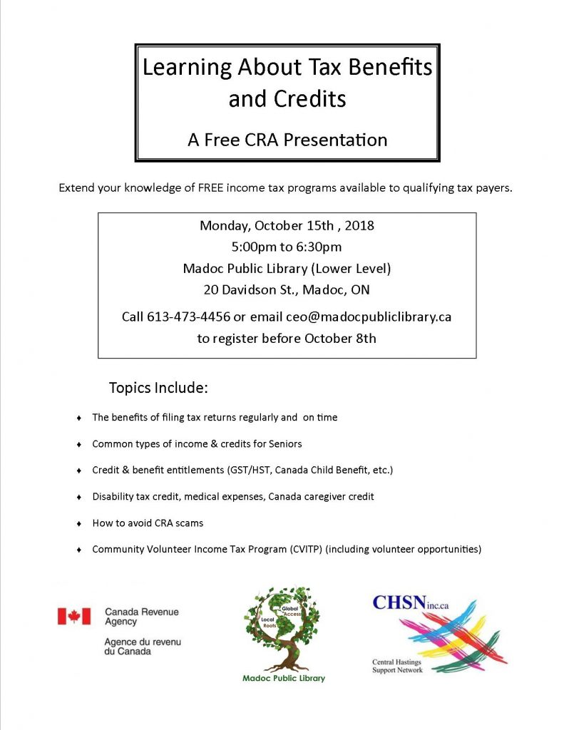 October 15th - Learn about tax benefits and credits