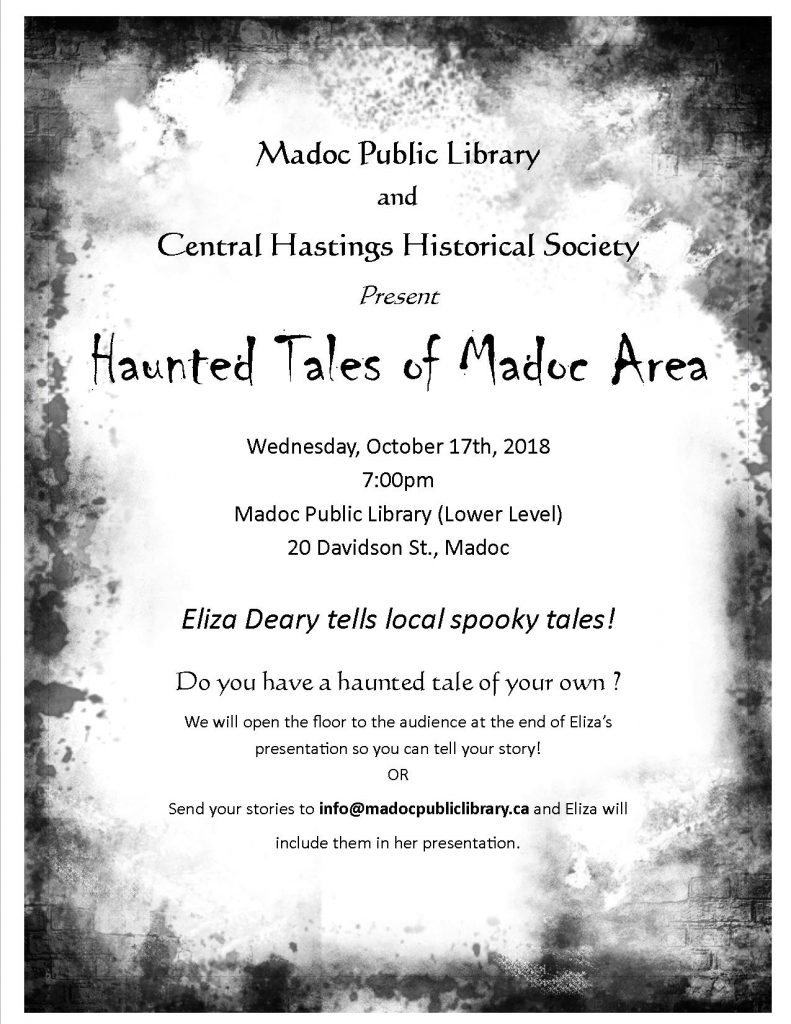 Eliza Deary tells local spooky tales - Wednesday, October 17th, 2018 at 7:00pm