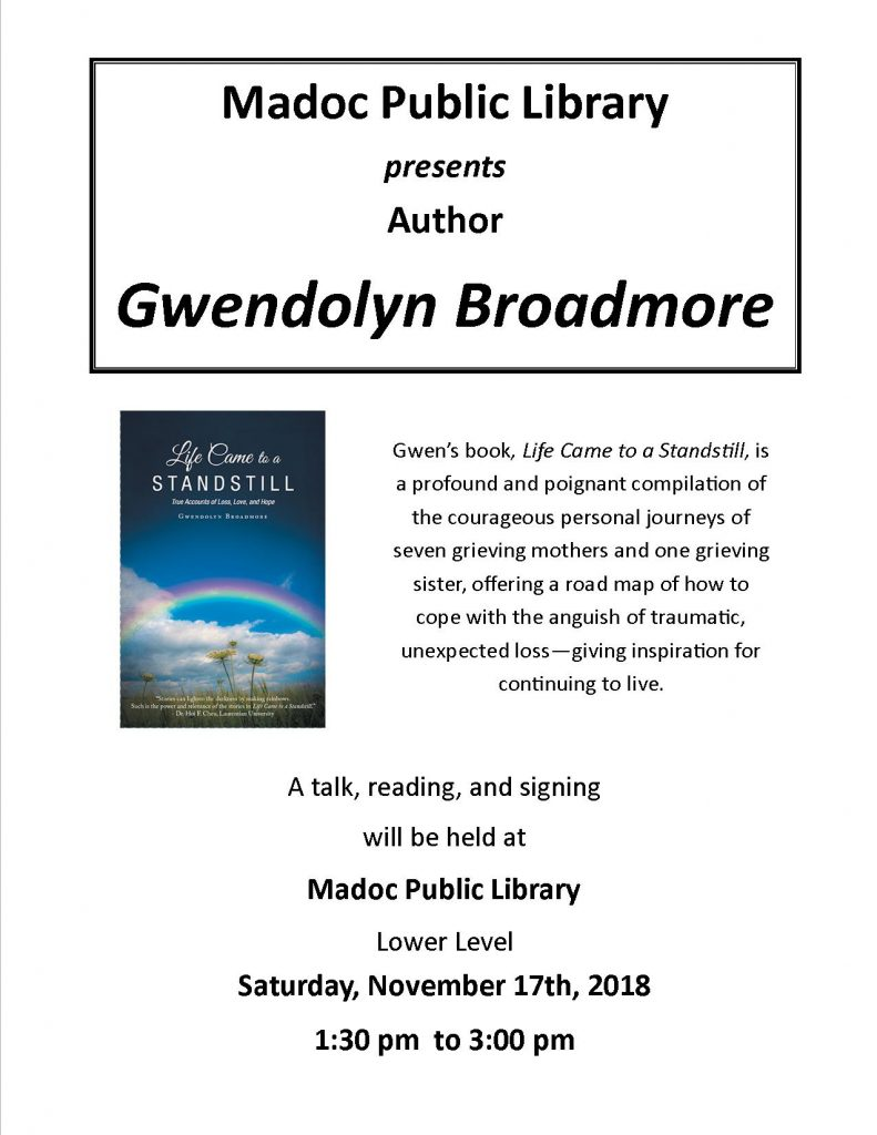 Author Gwen Broadmore visits the library on November 17th, 2018 from 1:30pm to 3:00pm