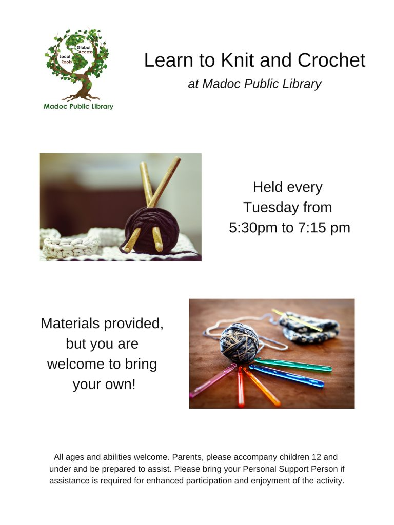 Knit and Crochet - Tuesdays from 5:30pm to 7:30pm