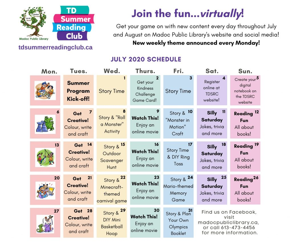 Calendar for TD Summer Reading Club - July