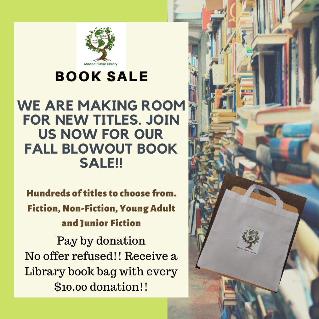 Fall Blowout Book Sale. Pay by donation.  Receive a Library book bag with every $10 donation!