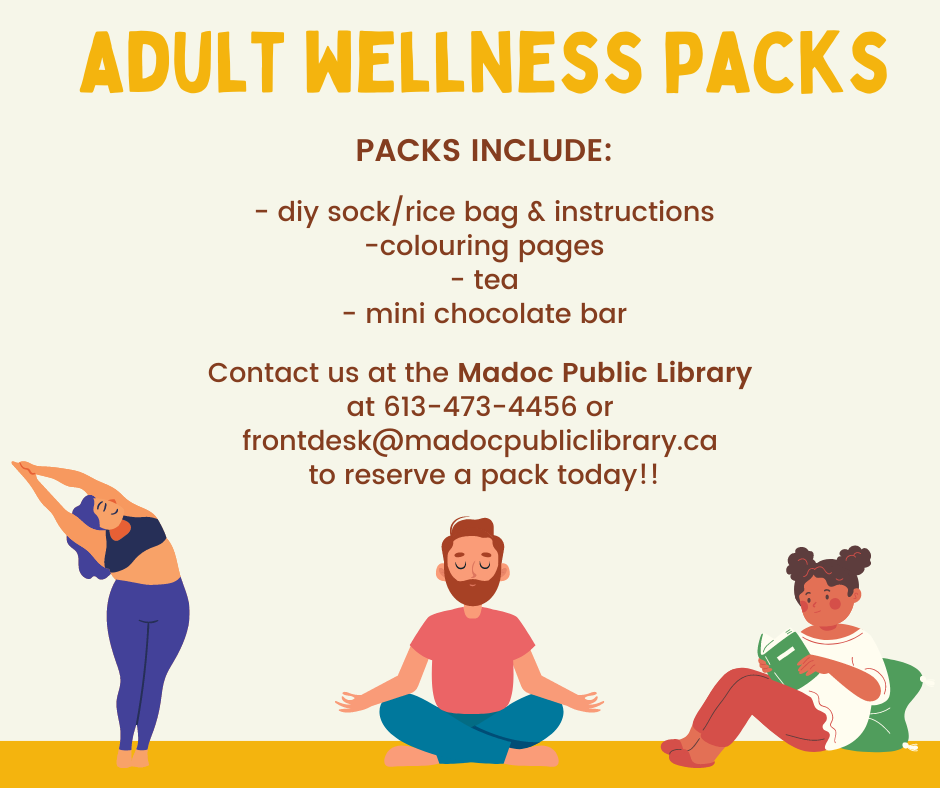 Image of 3 individuals practicing wellness - yoga, meditation, restful reading - with description of Wellness Pack.